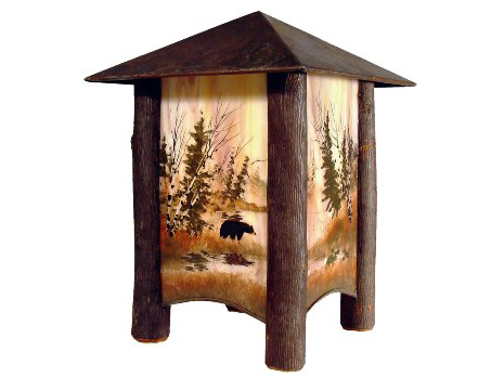 Art Glass, hand painted Bear table lantern